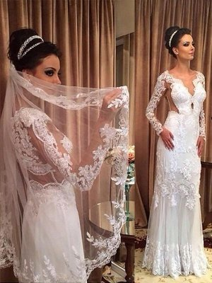 Sweep Train Applique Column Tulle V-neck Long Sleeves Wedding Dresses
