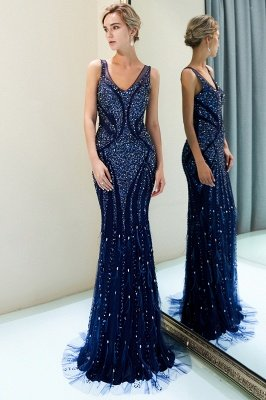 MATHILDA | Mermaid Sleeveless V-neck Sequins Pattern Long Evening Gowns_6