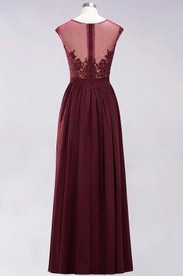 A-ligne en mousseline de soie dentelle bijou manches rez-de-longueur robes de demoiselle d'honneur avec des appliques_9