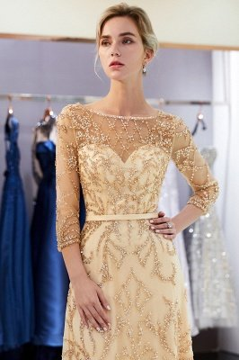 MELODY | A-line Illusion Neckline Long Beading Evening Gowns with Sleeves_27