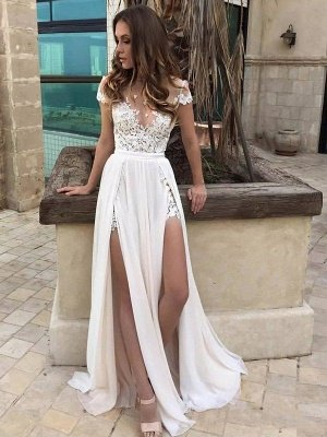 Sleeveless V-neck Lace Chiffon A-Line Floor-Length Wedding Dresses_1