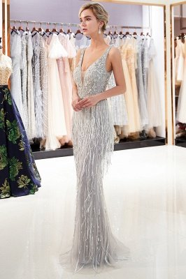 MARY | Mermaid Deep V-neck Sleeveless Tassel Beading Party Dresses