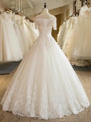 Palabra de longitud apliques vestido de novia | fuera del hombro de encaje de tul con medias mangas_3