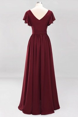 elegant A-line Chiffon V-Neck Short-Sleeves Floor-Length Bridesmaid Dresses with Bow Sash_9