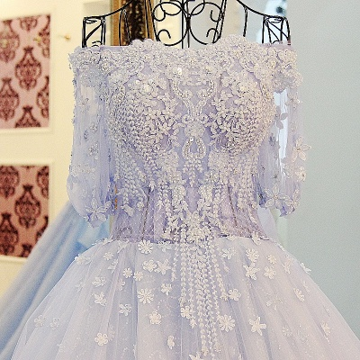 3/4 Sleeves Applique A-Line Ball Gown Off-The-Shoulder Bow Prom Dresses_3