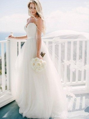 Sweep Train Ball Gown Sleeveless Tulle Sweetheart Wedding Dresses_4