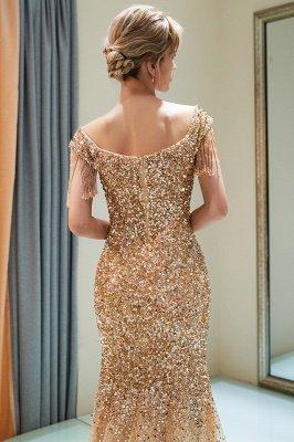 MELISSA | Mermaid Off-the-shoulder V-neck Floor Length Sequins Evening Dresses_13