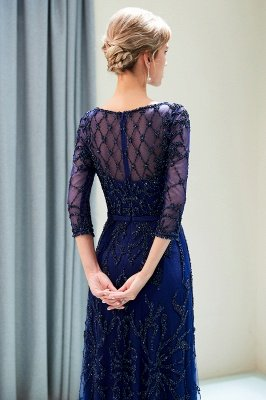 MELODY | A-line Illusion Neckline Long Beading Evening Gowns with Sleeves_19