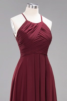 A-Line Chiffon Halter Ruffles Floor-Length Bridesmaid Dress_46