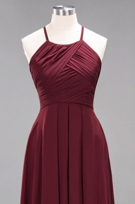 A-Line Chiffon Halter Ruffles Floor-Length Bridesmaid Dress_44
