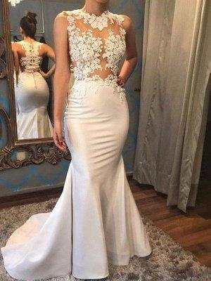 Satin Mermaid Scoop Sleeveless Applique Court Train Wedding Dresses_1