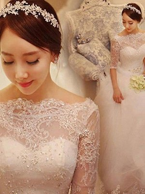 Chapel Train Tulle Ball Gown Beading Off-the-Shoulder 1/2 Sleeves Wedding Dresses