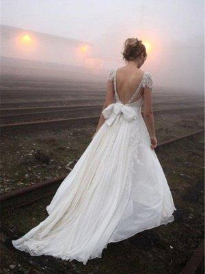 Chiffon A-Line Sleeveless V-neck Floor-Length Lace Wedding Dresses_3