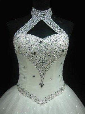 Sequin Ball Gown Sleeveless Floor-Length Beading Tulle Halter Wedding Dresses_3