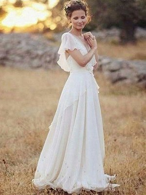 Ruched Floor-Length A-Line V-neck Chiffon Short Sleeves Wedding Dresses_1