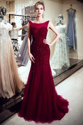 MELBA | Mermaid Sleeveless Long Sequined Tulle Burgundy Evening Gowns