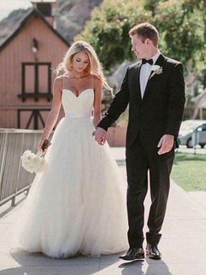 Sweep Train Ball Gown Sleeveless Tulle Sweetheart Wedding Dresses_1