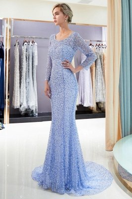 MERCEDES | Mermaid Long Sleeves Floor Length Sequins Formal Party Dresses