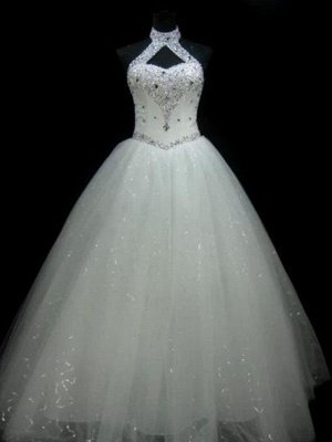 Sequin Ball Gown Sleeveless Floor-Length Beading Tulle Halter Wedding Dresses_1