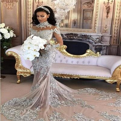 Vestido de noche de cuello alto de manga larga con cuello en V popular de sirena de encaje vestidos de novia de lujo BH-362_4