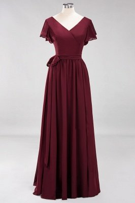 elegant A-line Chiffon V-Neck Short-Sleeves Floor-Length Bridesmaid Dresses with Bow Sash_8