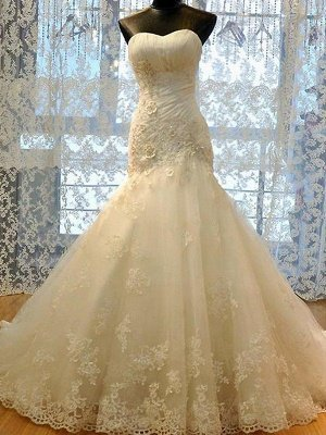 Applique Court Train Mermaid Sweetheart Tulle Sleeveless Wedding Dresses_1