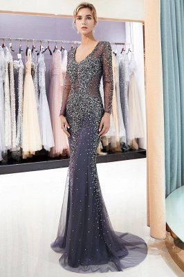 MAUREEN | Sirène col en V manches longues robes de soirée de perles scintillantes