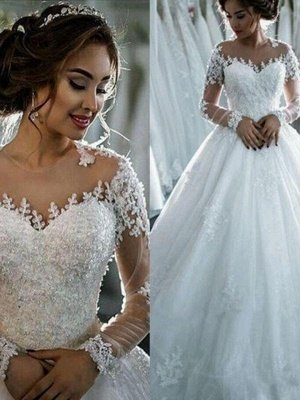 Scoop Applique Long Sleeves Ball Gown Chapel Train Tulle Wedding Dresses