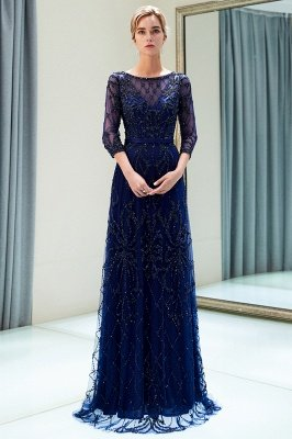 MELODY | A-line Illusion Neckline Long Beading Evening Gowns with Sleeves_3