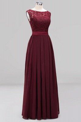 A-line Chiffon Lace Jewel Sleeveless Ruffles Floor-length Bridesmaid Dress_11