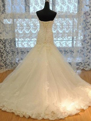 Applique Court Train Mermaid Sweetheart Tulle Sleeveless Wedding Dresses_3
