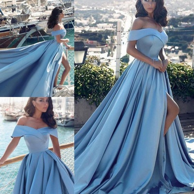 Blue Off-the-Shoulder Prom Dress | Long Evening Gowns With Slit BA8863_5