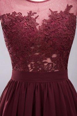 A-ligne en mousseline de soie dentelle bijou manches rez-de-longueur robes de demoiselle d'honneur avec des appliques_13