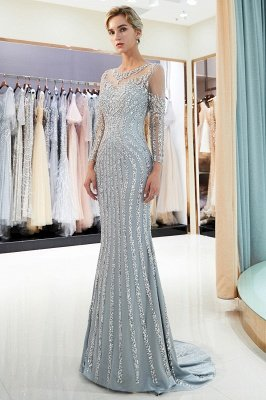 MARLENE | Mermaid Sequined Pattern Long Sleeves Evening Dresses