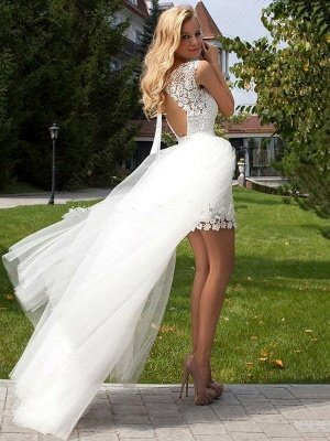 Column Scoop Floor-Length Lace Tulle Sleeveless Wedding Dresses_3