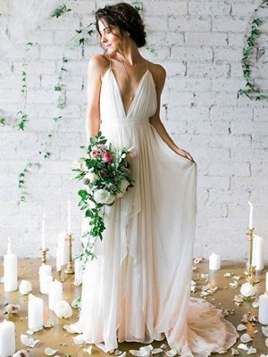Sweep Train A-Line Sleeveless Ruffles Chiffon Spaghetti Straps Wedding Dresses_1
