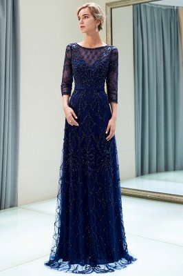 MELODY | A-line Illusion Neckline Long Beading Evening Gowns with Sleeves_15