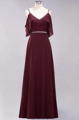 Elegant A-line Chiffon V-Neck Spaghetti Straps Sleeveless Floor-Length Bridesmaid Dresses with Beading Sash_5