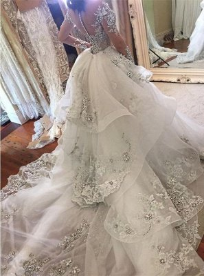 Glamorous Long Sleeves Tulle High Neck Bride Dresses Appliques Wedding Dresses with Detachable Overskirt qq0375_3