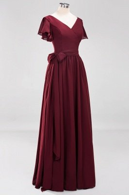 elegant A-line Chiffon V-Neck Short-Sleeves Floor-Length Bridesmaid Dresses with Bow Sash_10