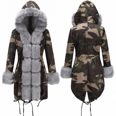Beautiful Warm Winter Hooded Outwear Faux Fur Camouflage Long Sleeves_11