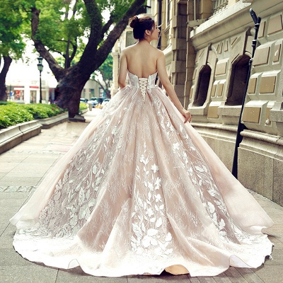 Applique Organza Strapless Ball Gown Sweep Train Prom Dresses_3