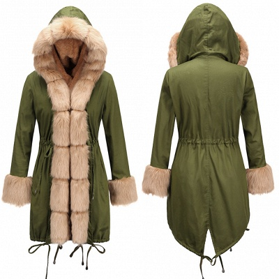 Pretty Overcoat Long Sleeves Faux Fur Winter Lining Coats_6
