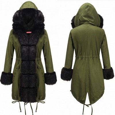 Puffer Long Sleeves Faux Fur Thicker Down Jacket Trimmed Hooded_7