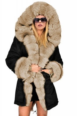 Pretty Overcoat Long Sleeves Faux Fur Winter Lining Coats_8