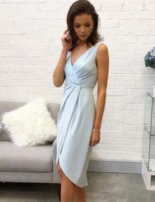 Elegantes, ärmelloses A-Line-Kleid mit V-Ausschnitt und hohem, niedrigem Kleid_1