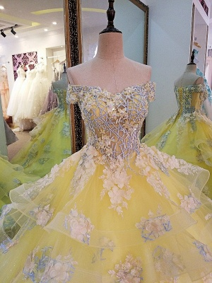 Magnifique col en V épaules dénudées à lacets une robe de soirée en satin avec des applications de dentelle_4