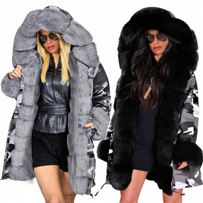 Casual Long Sleeves Solid Faux Fur Outcoat Women Coat_8
