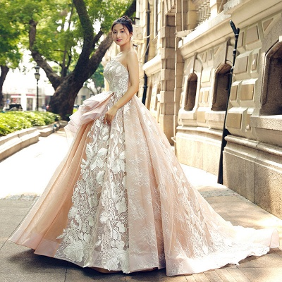 Applique Organza Strapless Ball Gown Sweep Train Prom Dresses_4
