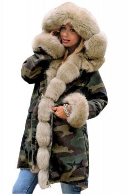 Beautiful Warm Winter Hooded Outwear Faux Fur Camouflage Long Sleeves_15